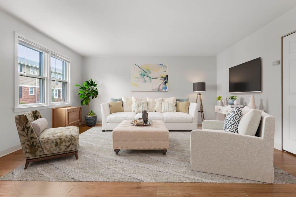 Living room at Brandywyne Village in East Boston, Massachusetts