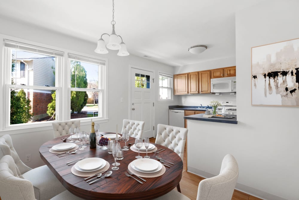 Kitchen and dining room at Brandywyne Village in East Boston, Massachusetts