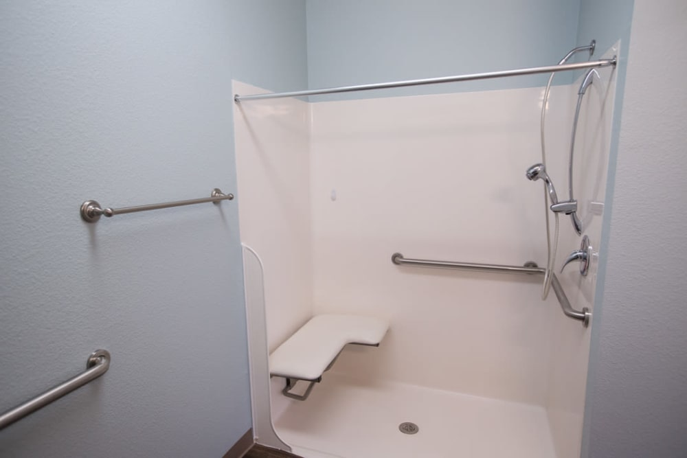 Bathroom with grab handles at FountainBrook in Midwest City, Oklahoma
