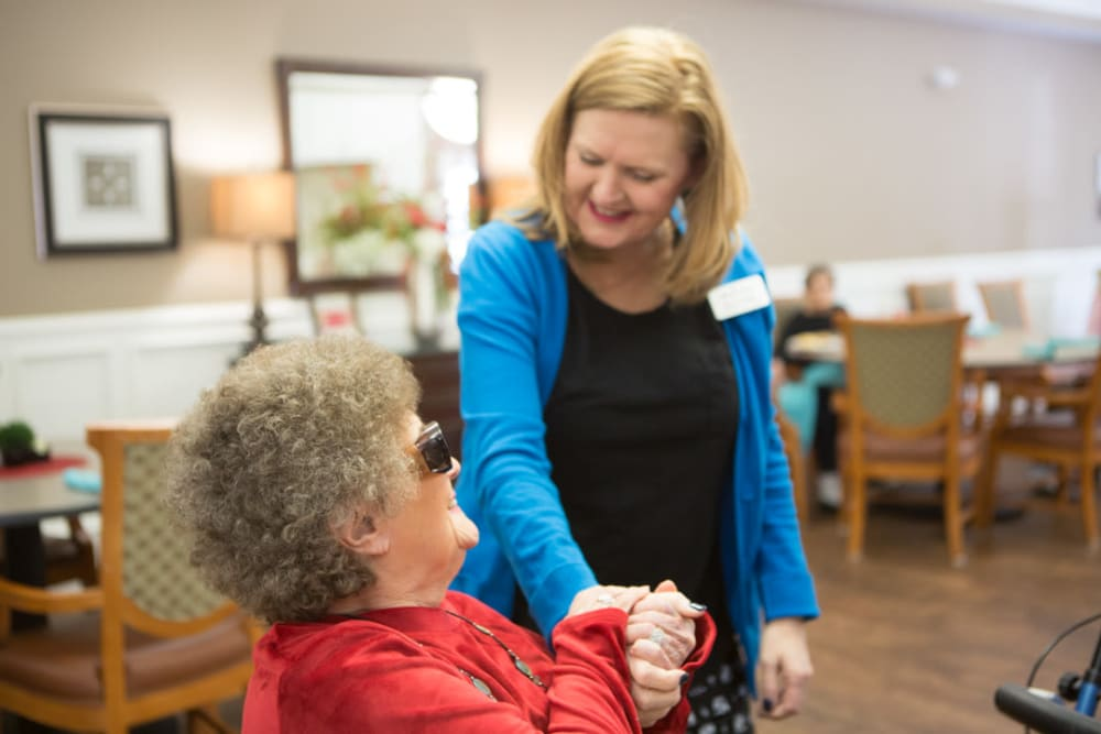 Resident and caregiver at FountainBrook in Midwest City, Oklahoma