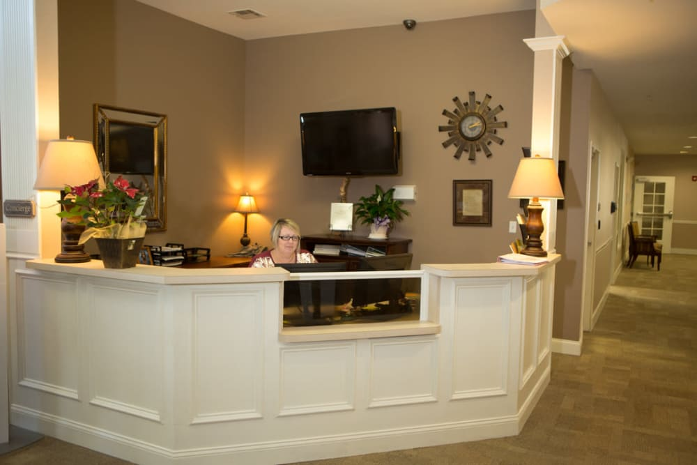 Receptionist counter and lobby at FountainBrook in Midwest City, Oklahoma.