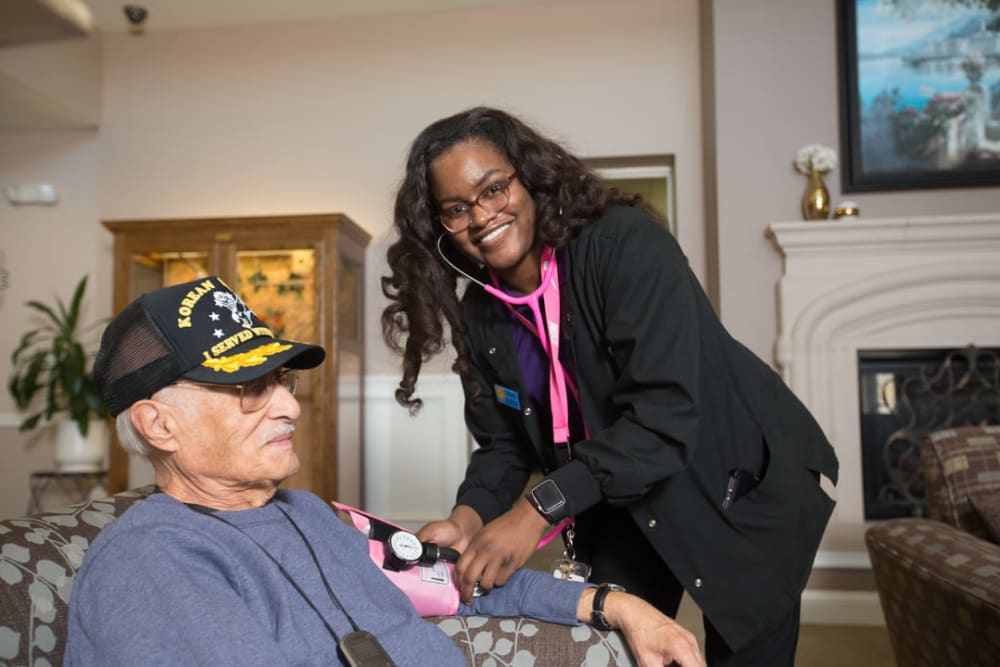 Caregiver and resident at FountainBrook in Midwest City, Oklahoma.
