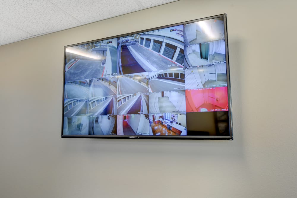 Security cameras screen at Towne Storage in North Las Vegas, Nevada