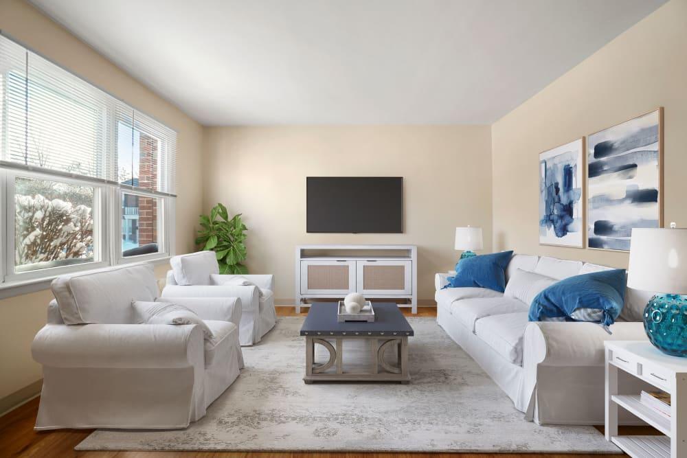 Living room at The Fairways in Worcester, Massachusetts