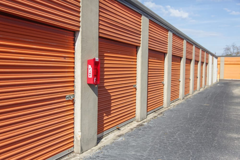 A row of storage units at Fort Knox Self Storage in Montgomery, Alabama.