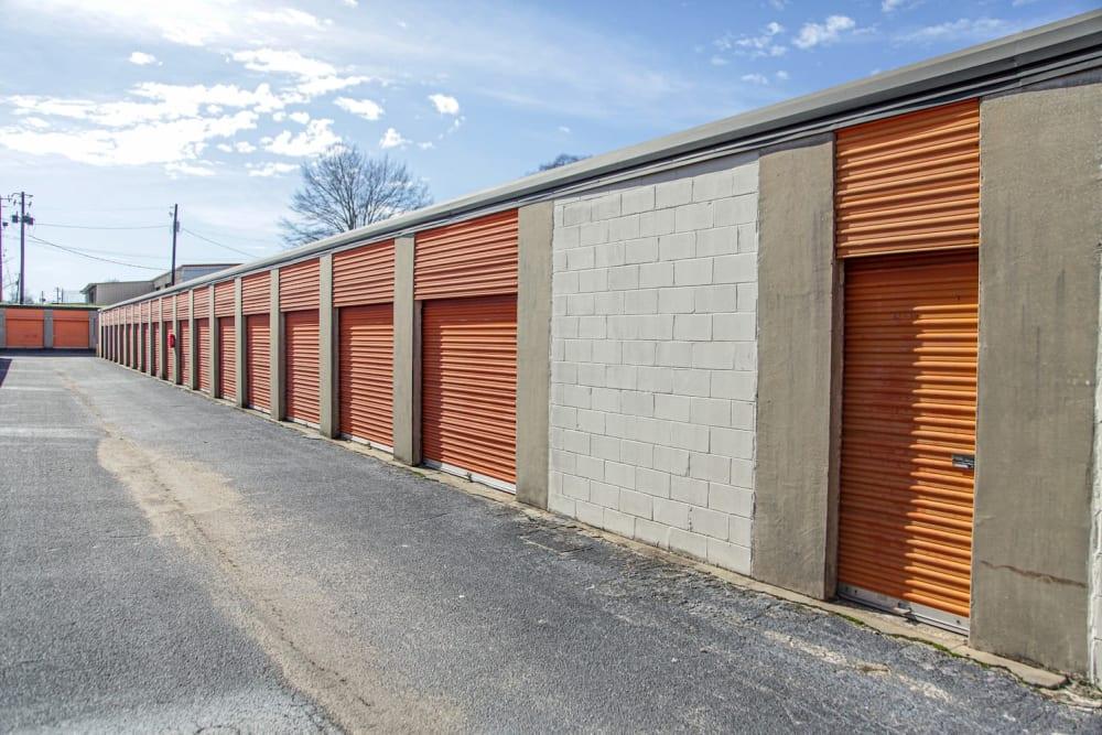 Drive-up storage units at Fort Knox Self Storage in Montgomery, Alabama.