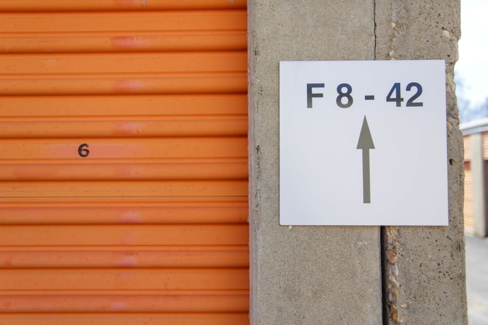 A storage unit sign at Fort Knox Self Storage in Montgomery, Alabama