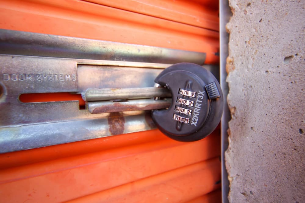 A lock on a storage unit at Fort Knox Self Storage in Montgomery, Alabama.