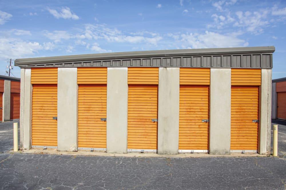 Outdoor storage units at Fort Knox Self Storage in Montgomery, Alabama.