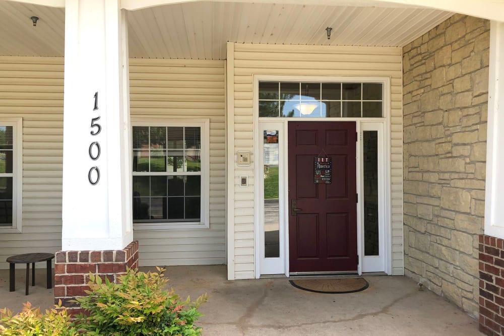Front door at Creekside Village in Ponca City, Oklahoma.