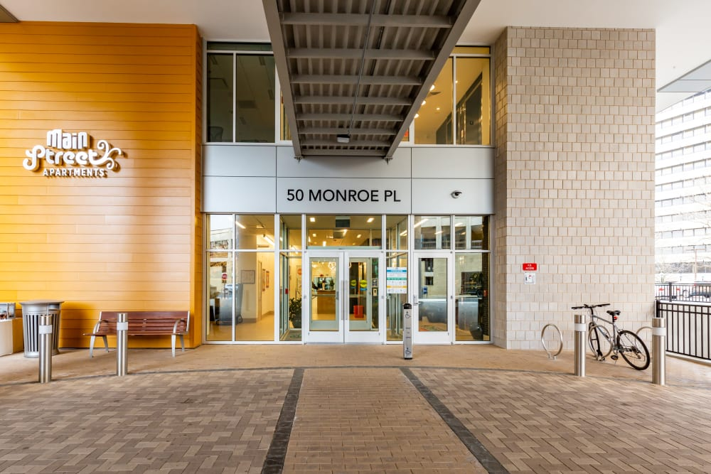 Beautiful Exterior entrance at Main Street Apartments in Rockville, Maryland