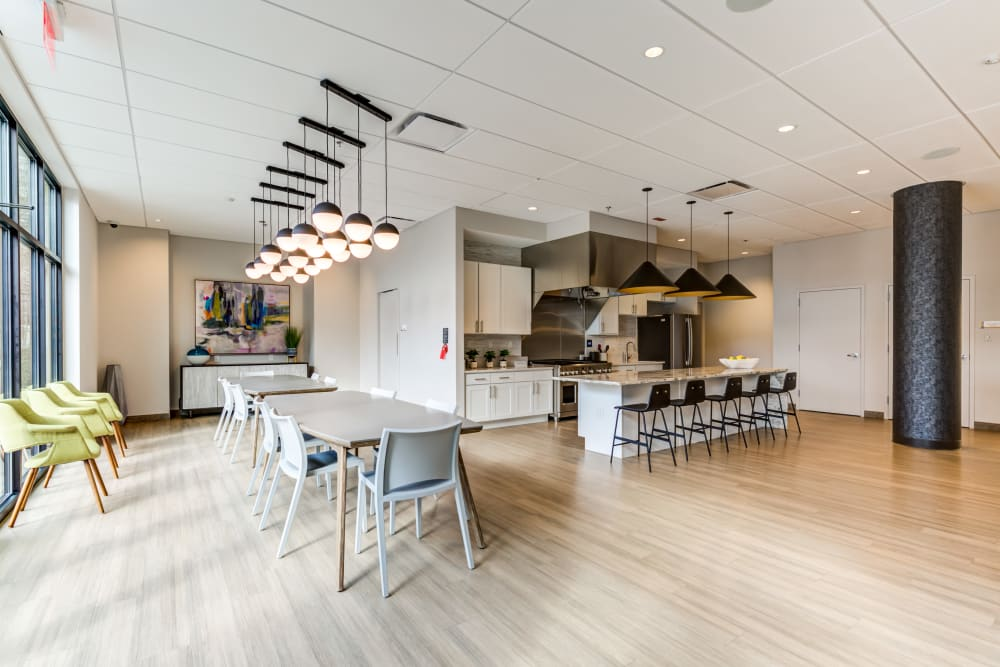 Clubhouse seating at Main Street Apartments in Rockville, Maryland