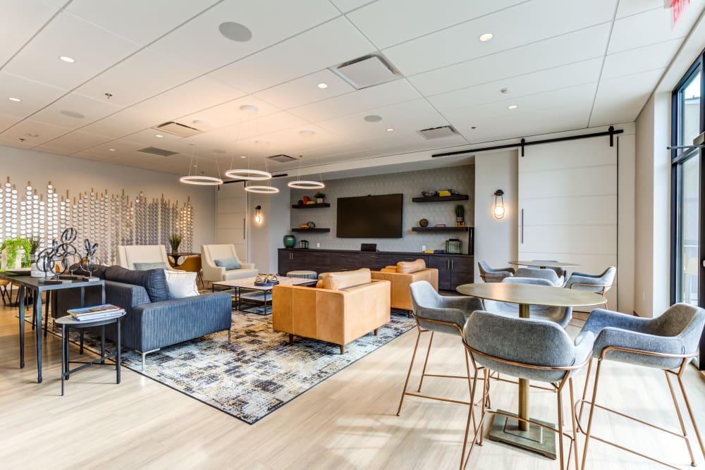TV clubhouse area at Main Street Apartments in Rockville, Maryland
