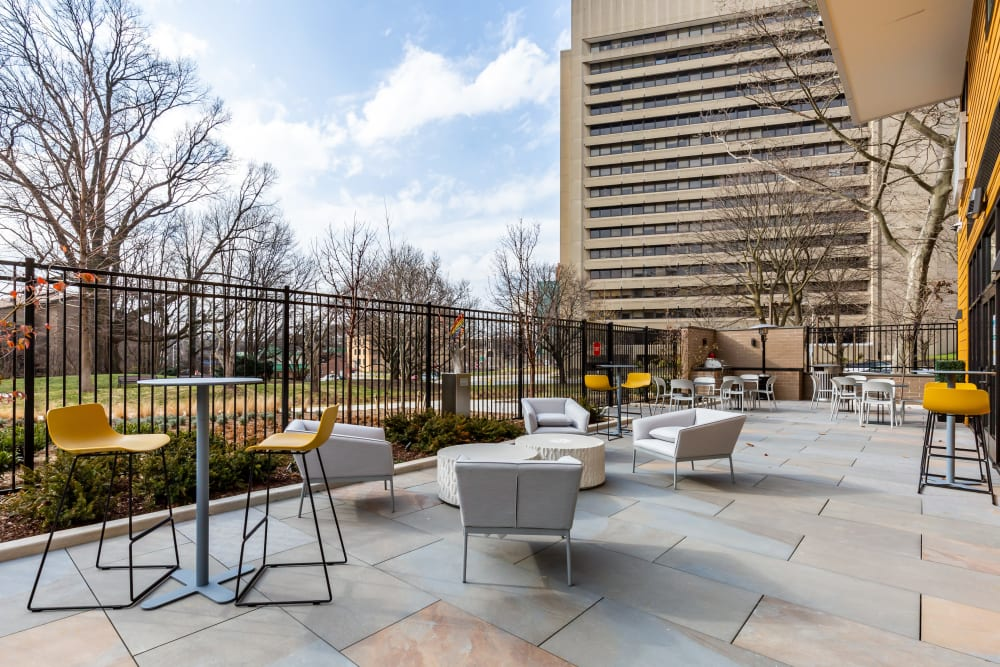 Outdoor seating at Main Street Apartments in Rockville, Maryland