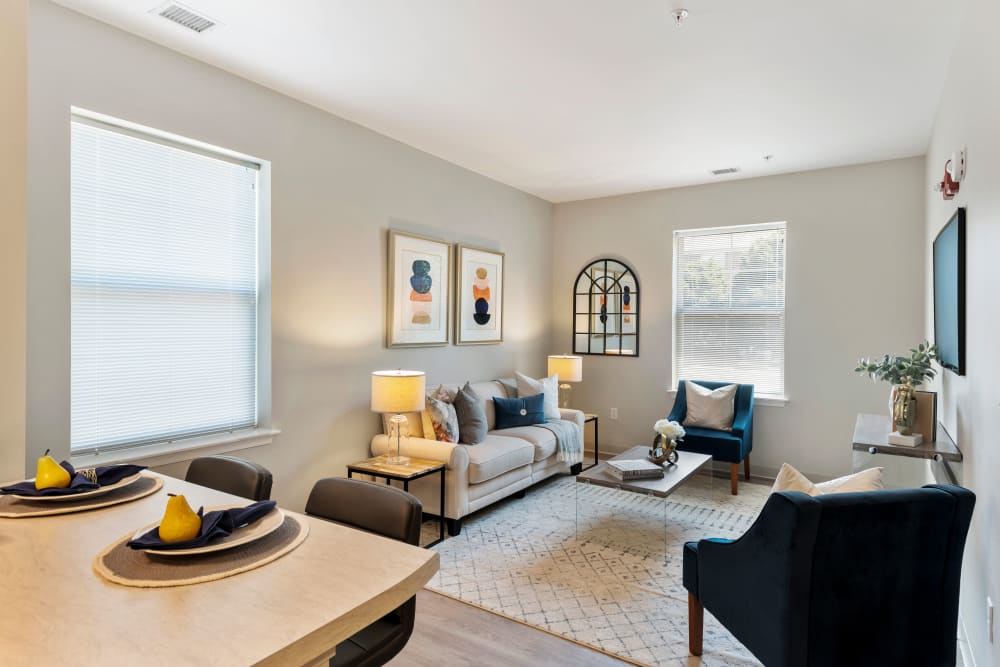 Spacious living area at The Apartments at Sharpe Square in Frederick, Maryland