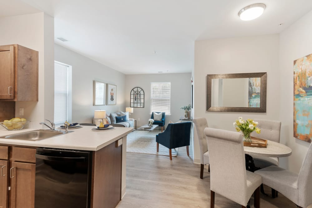 Open living spaces at The Apartments at Sharpe Square in Frederick, Maryland