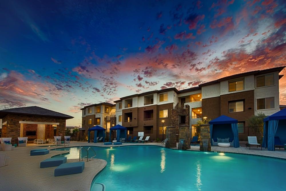 Resort-style, sparkling swimming pool at Ocio Plaza Del Rio in Peoria, Arizona