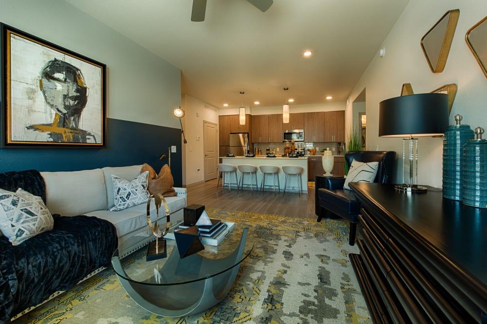 Well decorated model apartment at Ocio Plaza Del Rio in Peoria, Arizona