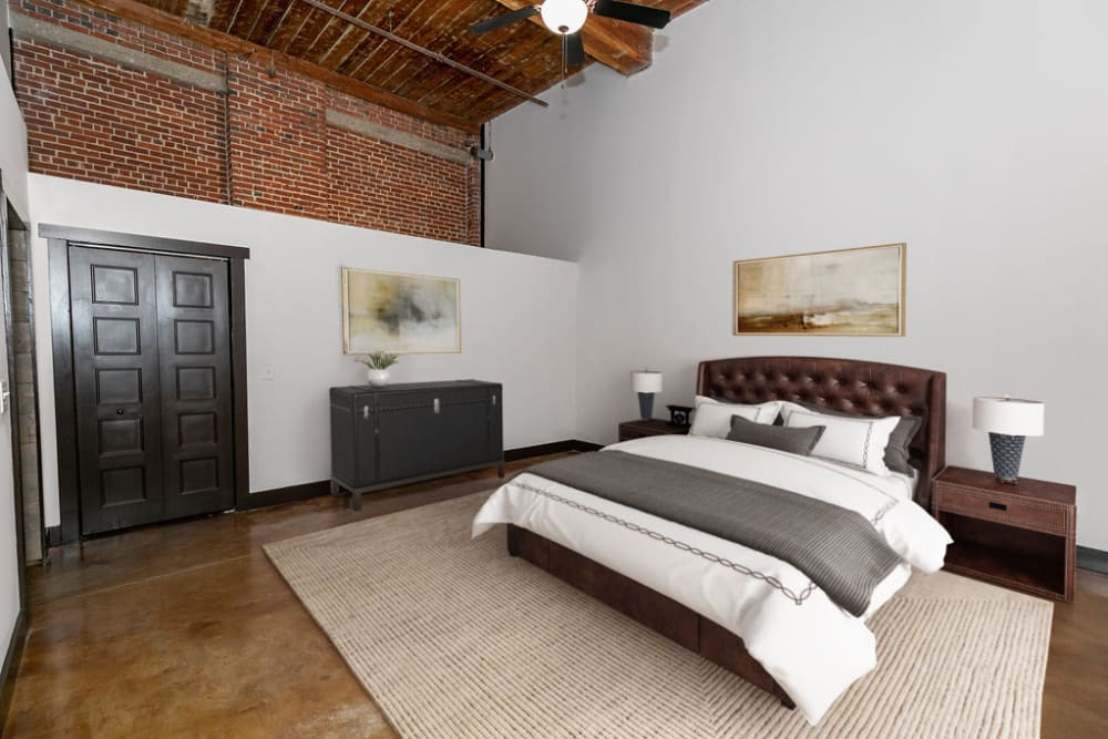 Spacious bedroom at The Lofts at Swift Mill in Columbus, Georgia
