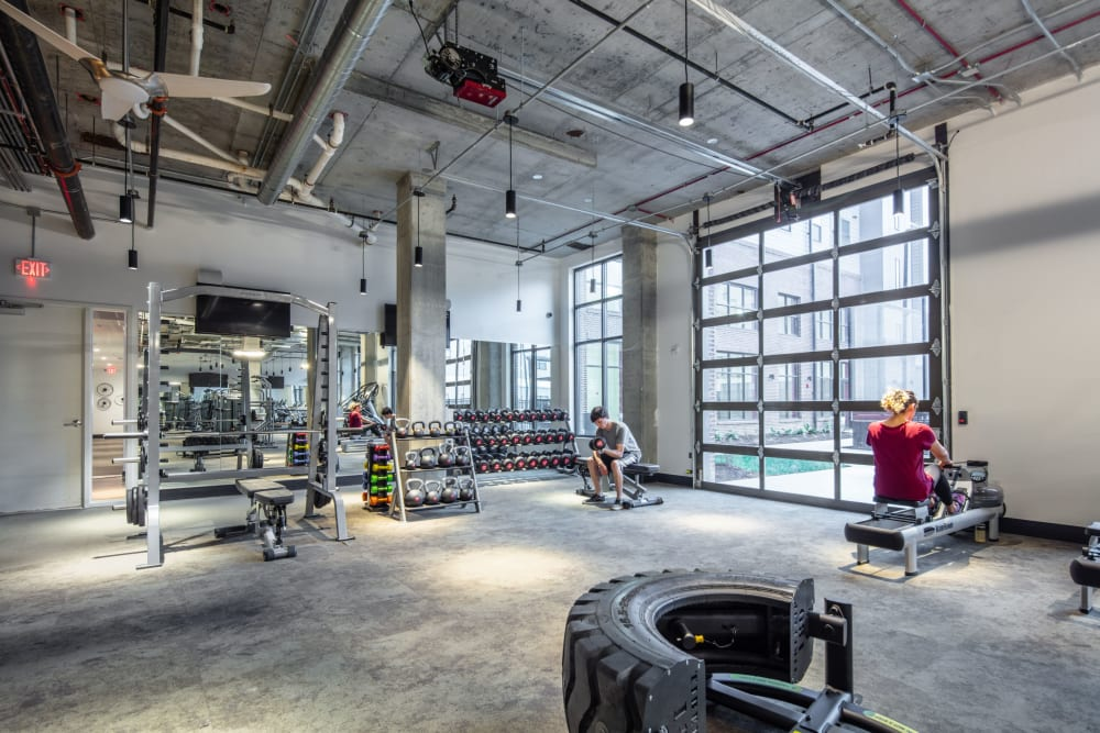 Fully equipped fitness center for residents at Ikon Athens in Athens, Georgia
