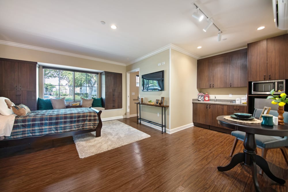 Furnished senior apartment living room at Regency Palms Oxnard in Oxnard, California