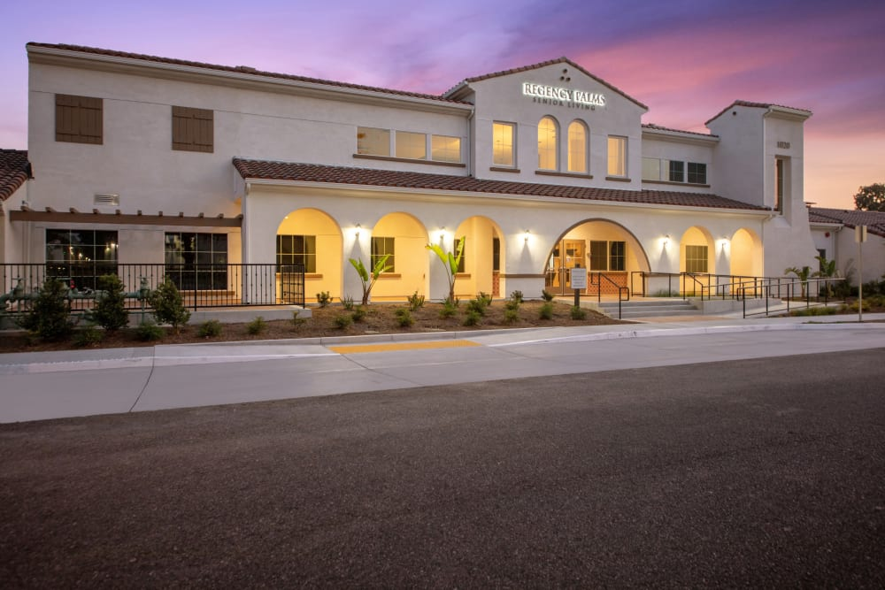 Front view of the main building at Regency Palms Oxnard in Oxnard, California