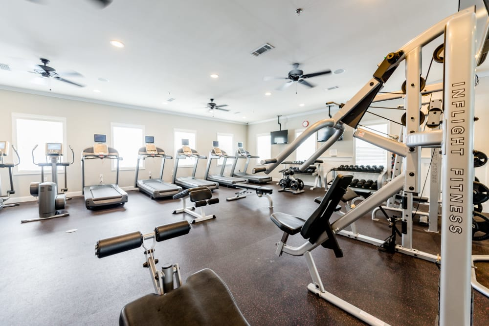 Full sized fitness center at Ikon Athens in Athens, Georgia