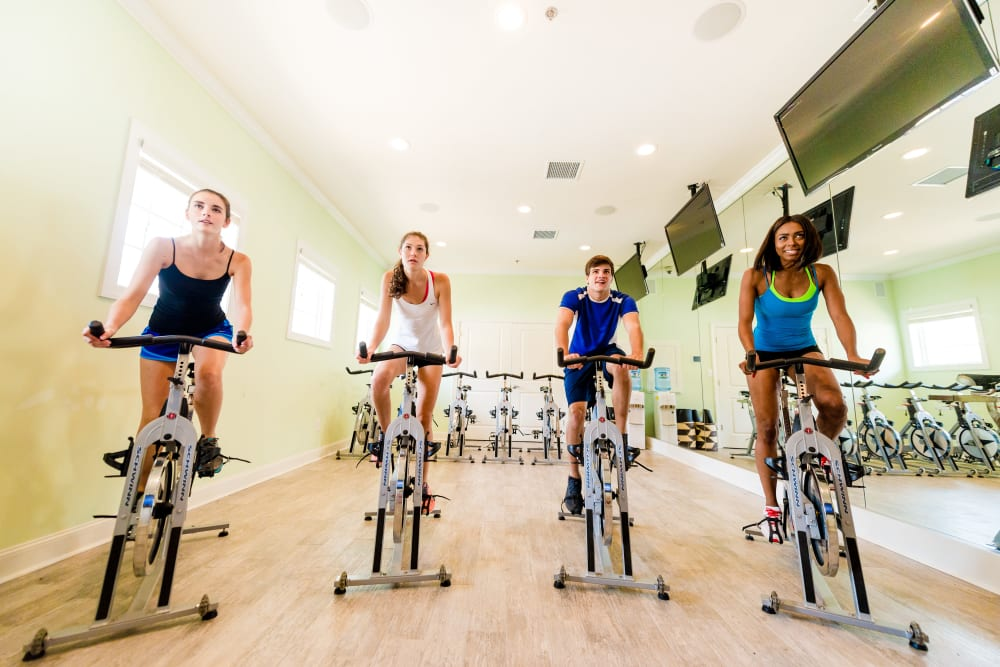 Fitness room for classes at Ikon Athens in Athens, Georgia