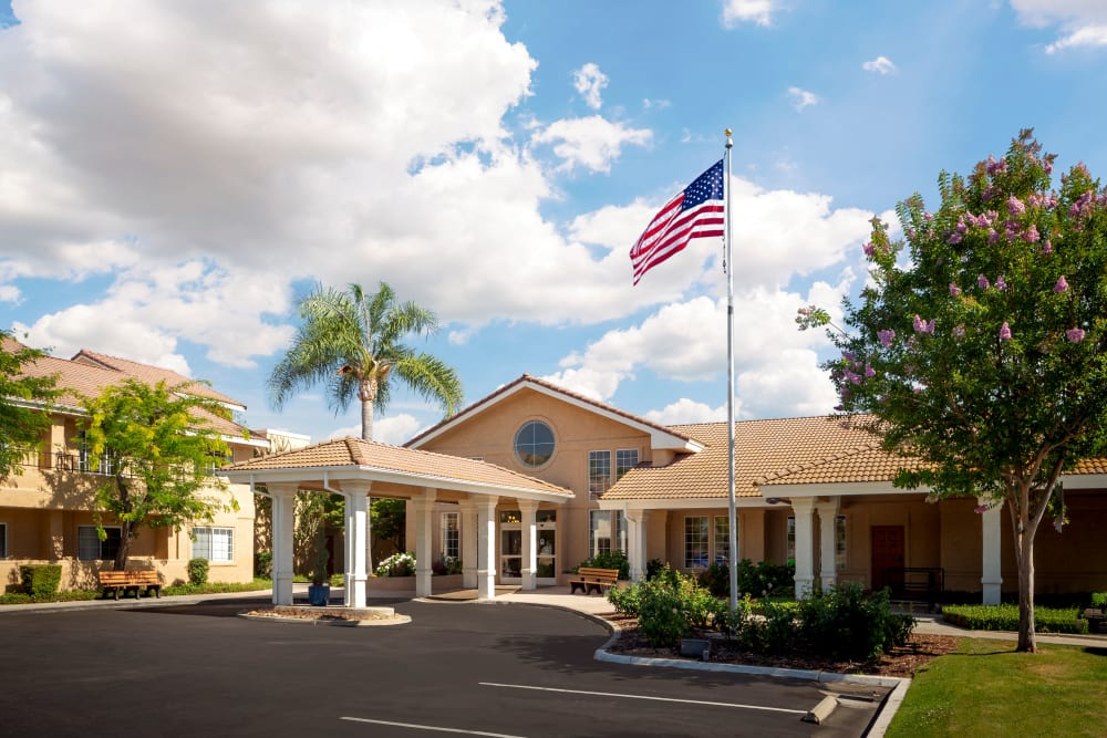 Front of main building at Pacifica Senior Living Menifee in Sun City, California