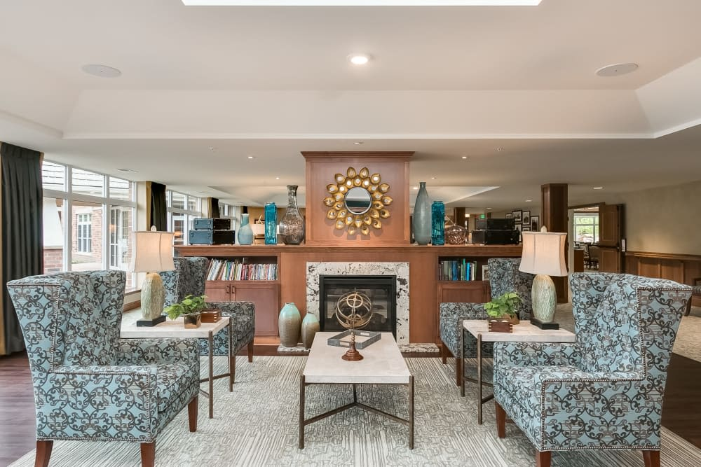 The fireside parlor at Applewood Pointe of Westminster in Westminster, Colorado.