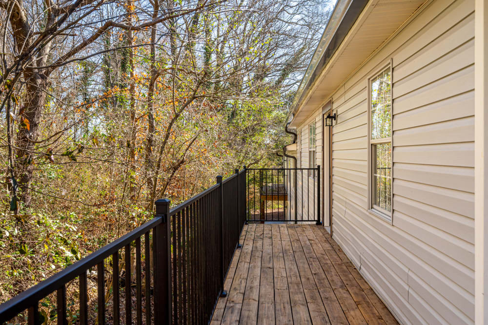 Private patio overlooking trees at Callio Properties in Chattanooga, Tennessee