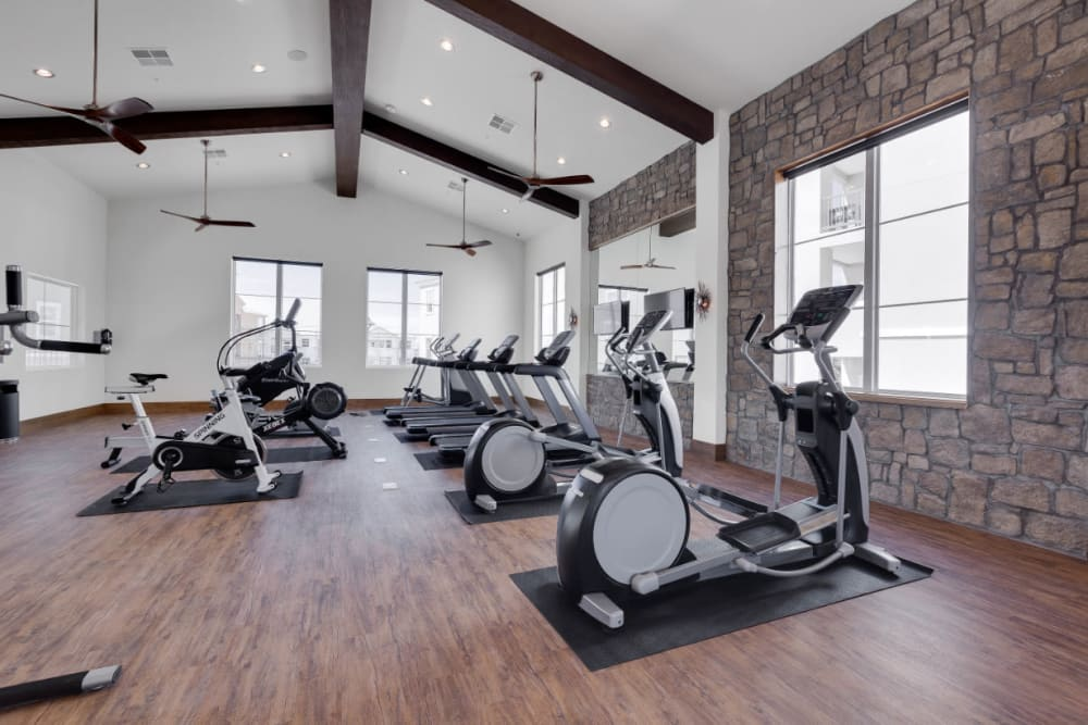 Very well-equipped fitness center at Olympus Rodeo in Santa Fe, New Mexico