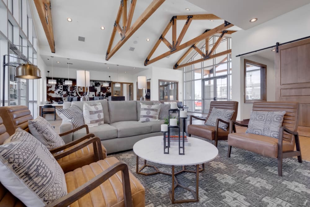 Modern architecture and decor in the resident clubhouse at Olympus Rodeo in Santa Fe, New Mexico