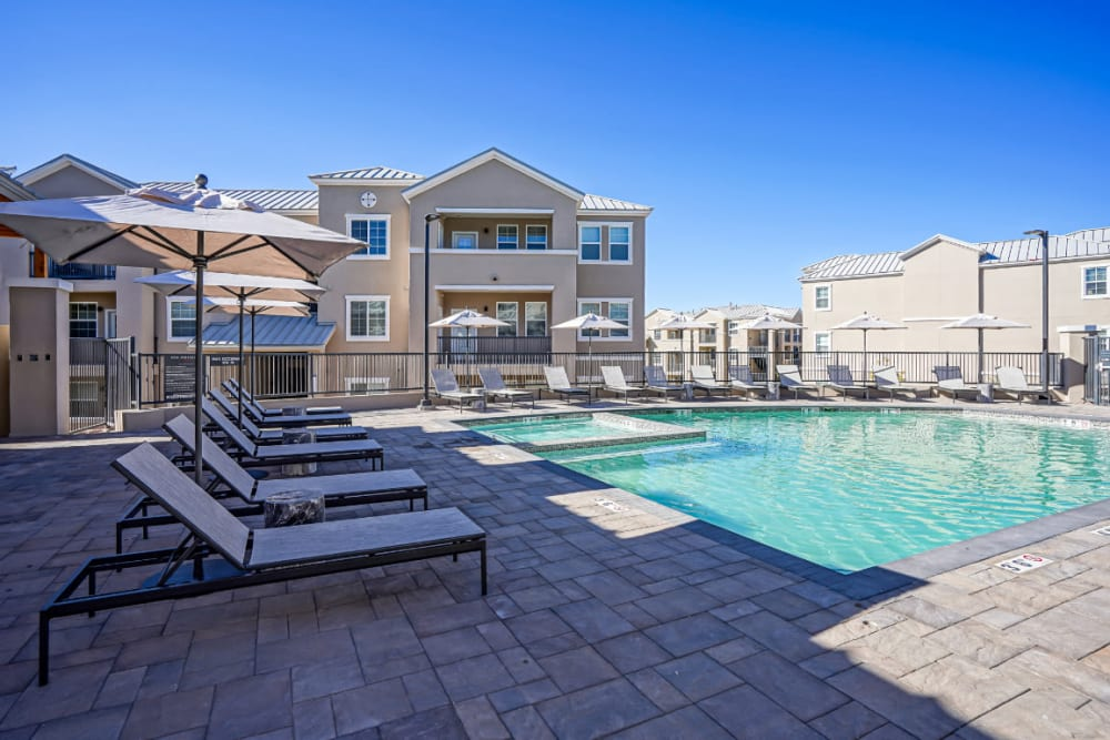 Resort-style swimming pool at Olympus Rodeo in Santa Fe, New Mexico