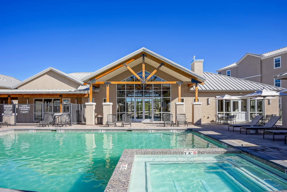 Swimming pool and hot tub area at Olympus Rodeo in Santa Fe, New Mexico