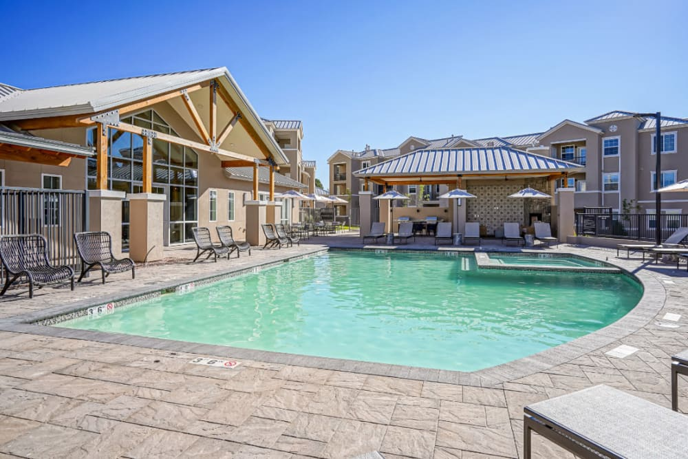 Swimming pool area on a beautiful day at Olympus Rodeo in Santa Fe, New Mexico