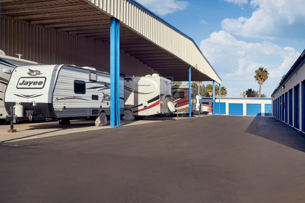 Covered outdoor RV parking at Stor'em Self Storage in San Marcos, California