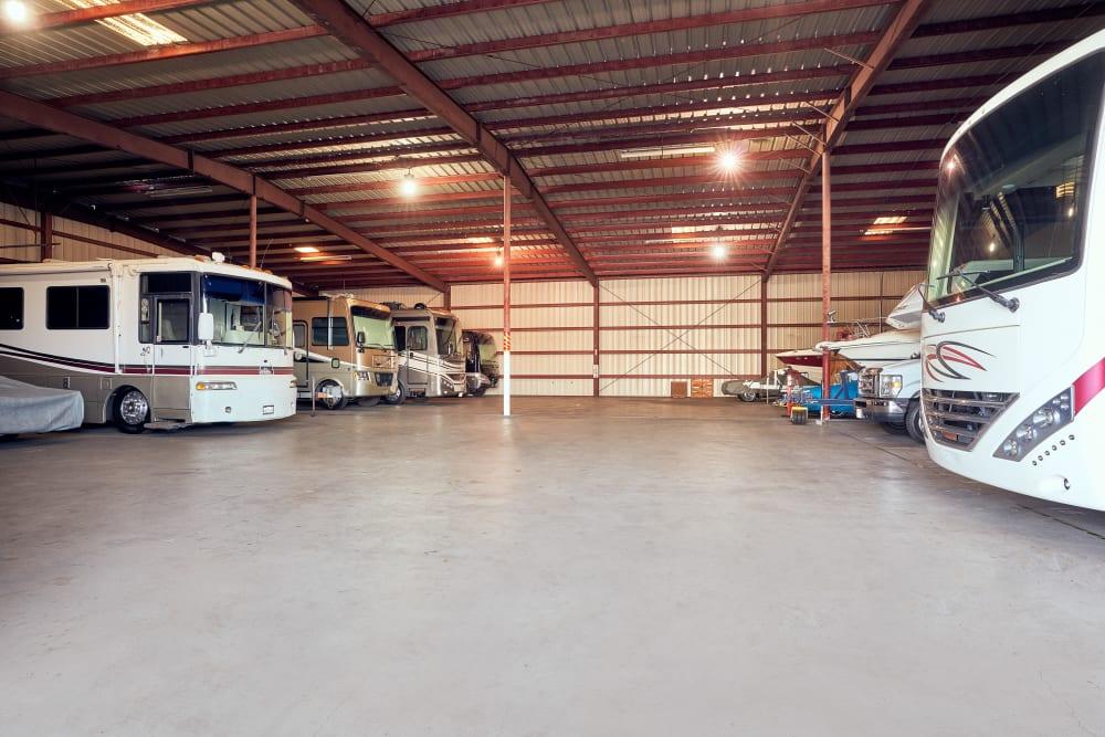 Indoor RV storage at Stor'em Self Storage in San Marcos, California