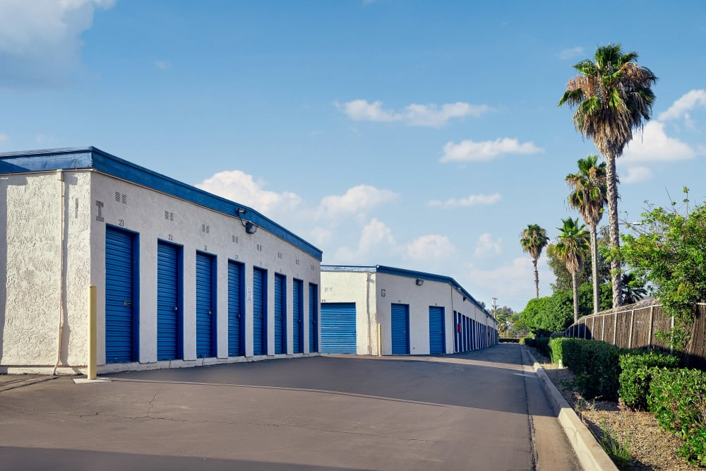 Outdoor storage near palm trees at Stor'em Self Storage in San Marcos, California