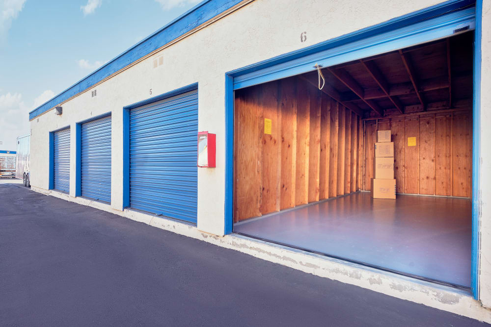 Open Outdoor storage unit at Stor'em Self Storage in San Marcos, California