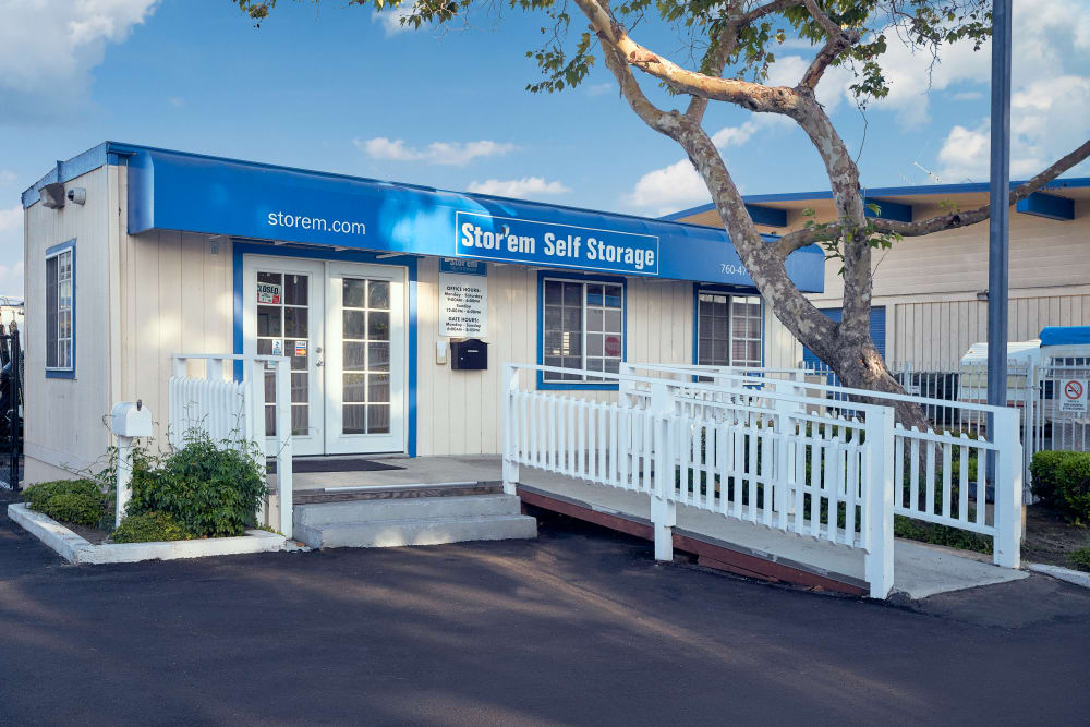 The front of the building at Stor'em Self Storage in San Marcos, California