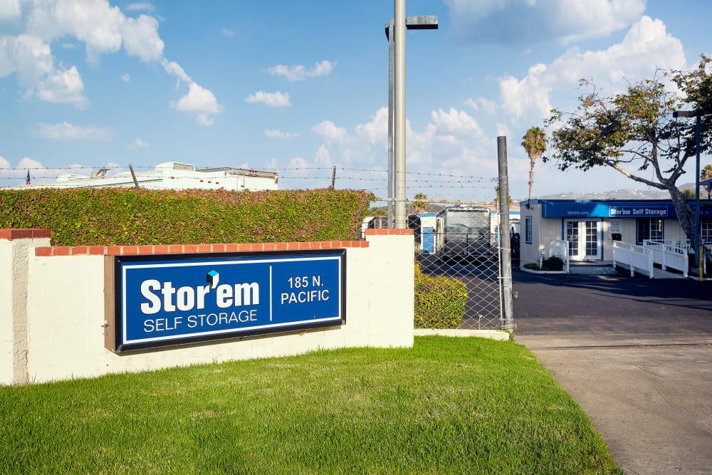 Stor'Em Sign at Stor'em Self Storage in San Marcos, California