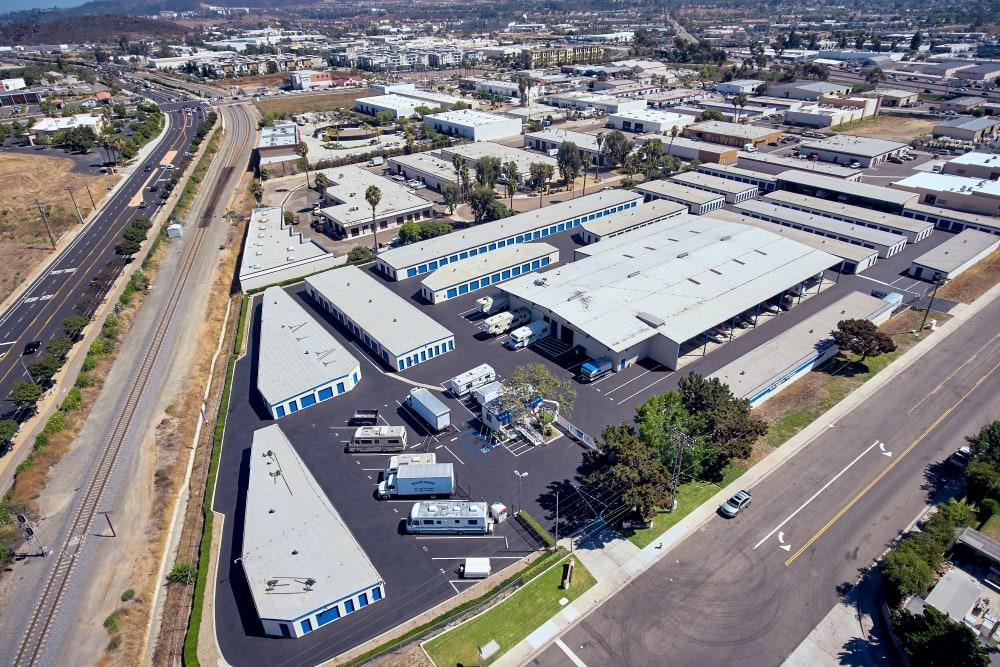 Aerial view of Stor'em Self Storage in San Marcos, California