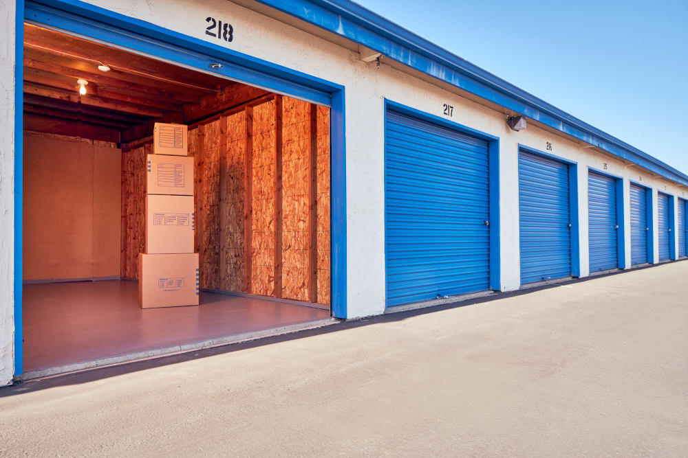 Open large outdoor storage unit at Stor'em Self Storage in Vista, California