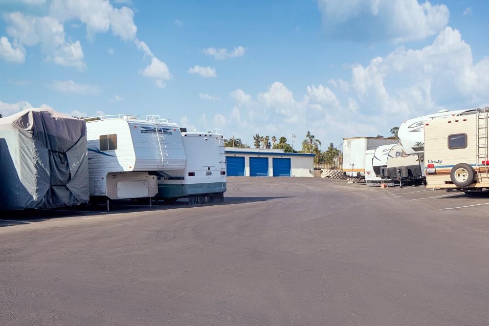 Outdoor RV storage at Stor'em Self Storage in Vista, California