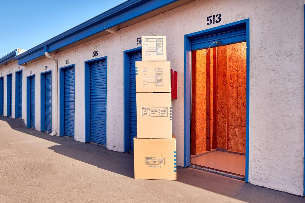 Open smaller outdoor storage unit at Stor'em Self Storage in Vista, California