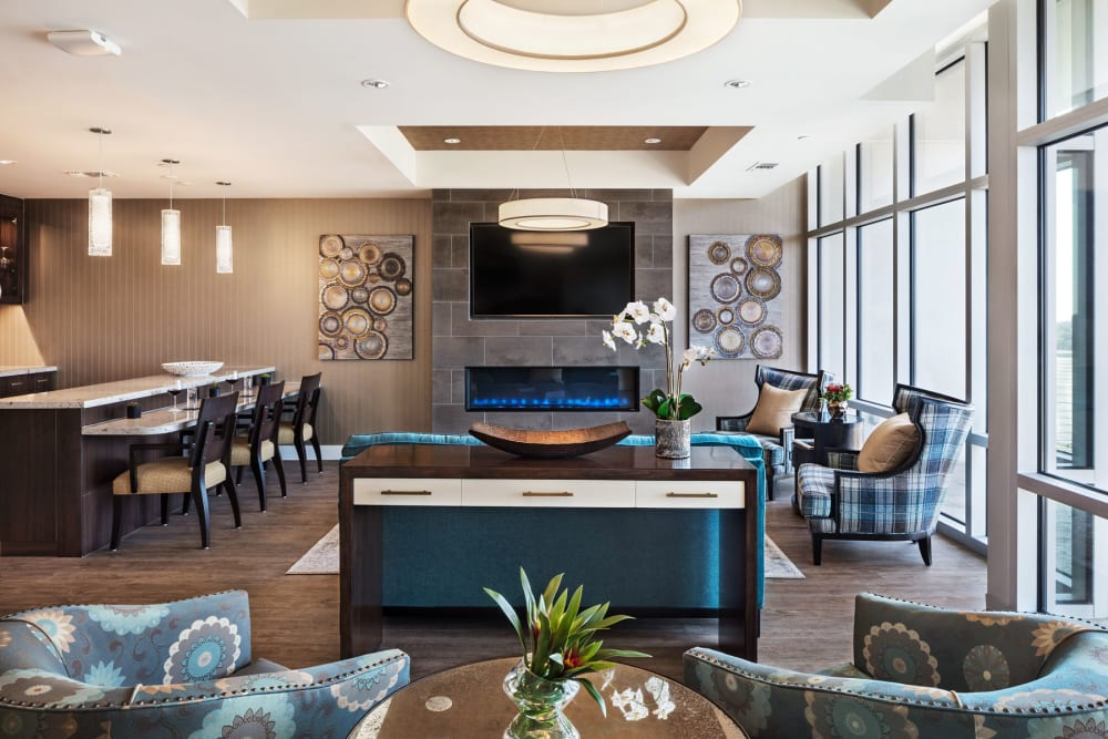 seating lounge with bar and fireplace