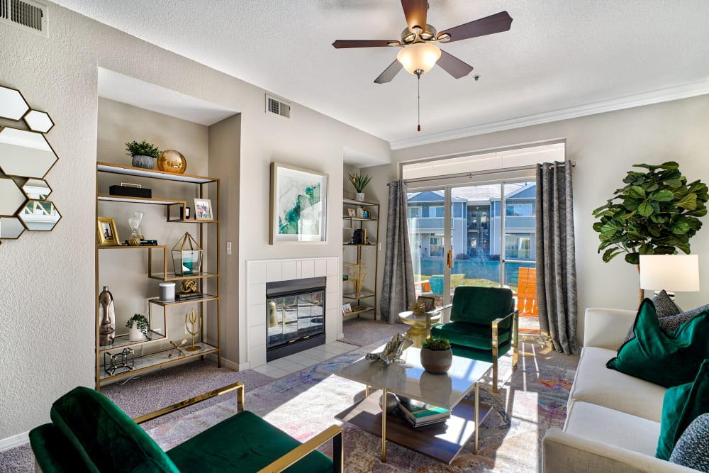 Living Room with fireplace at Pavilions at Silver Sage in Fort Collins, CO