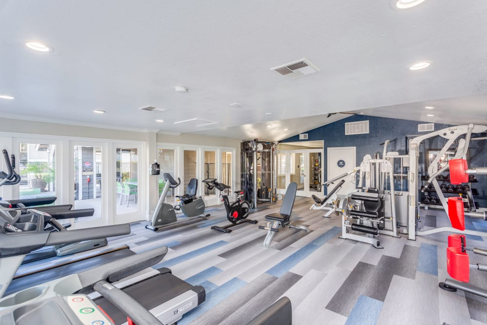 Clean, newly renovated community gym at Village Oaks in Chino Hills, California