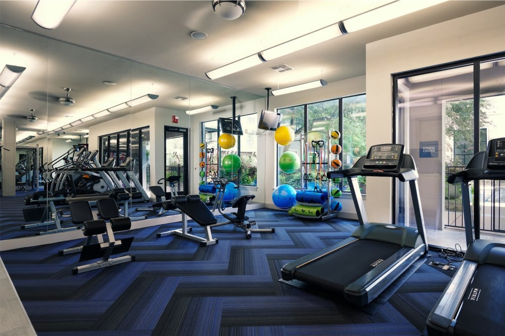 Full functional fitness center with everything to get a great workout in at Seville Uptown in Dallas, Texas